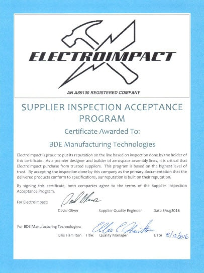 Certified Electroimpact Preferred Supplier - BDE