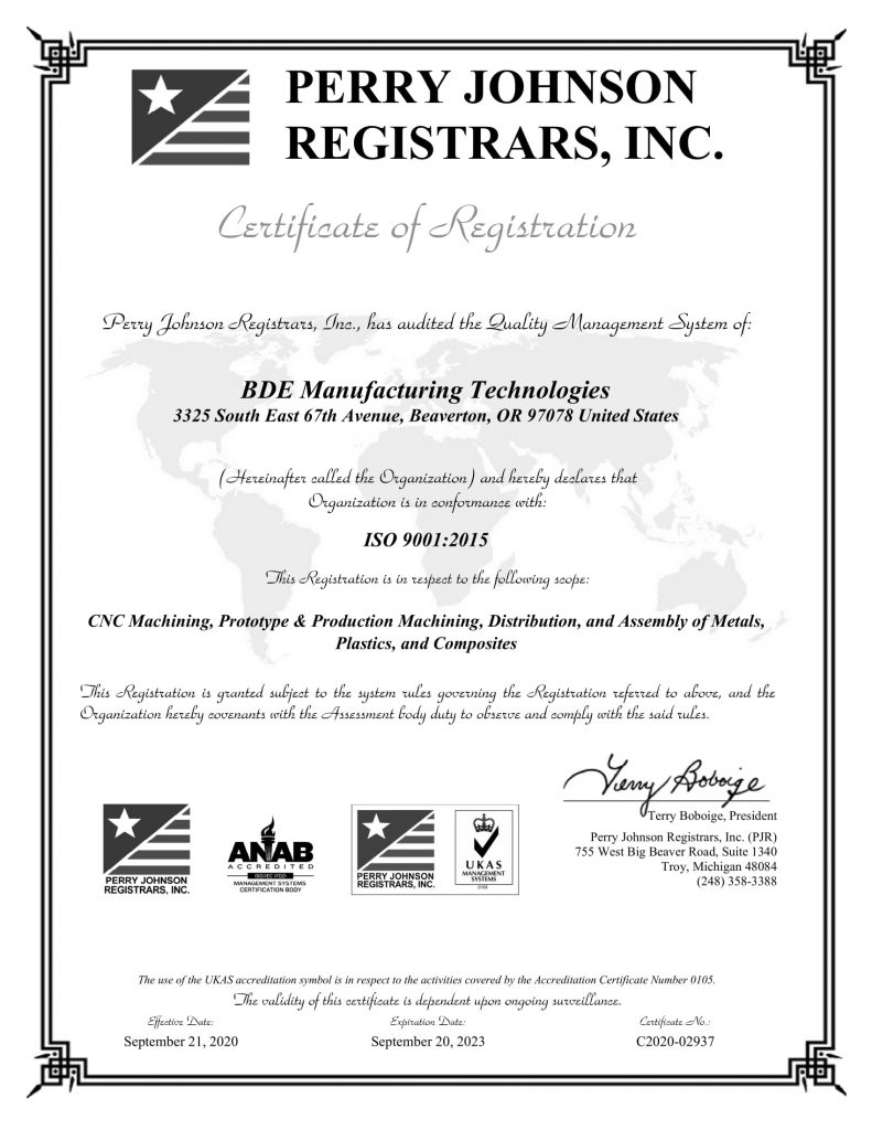 BDE Manufacturng Technologies Certification